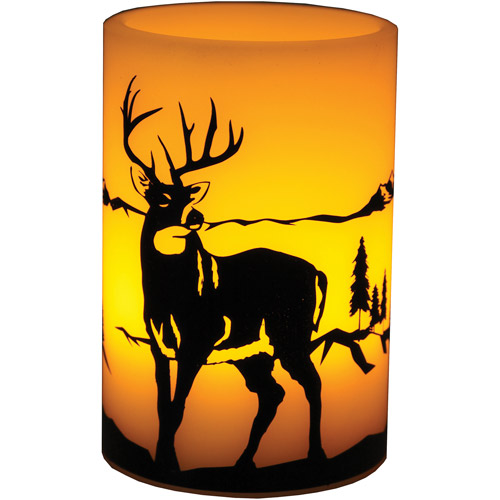 """River's Edge Products LED Painted Deer Candle, 4"""" x 6"""""""