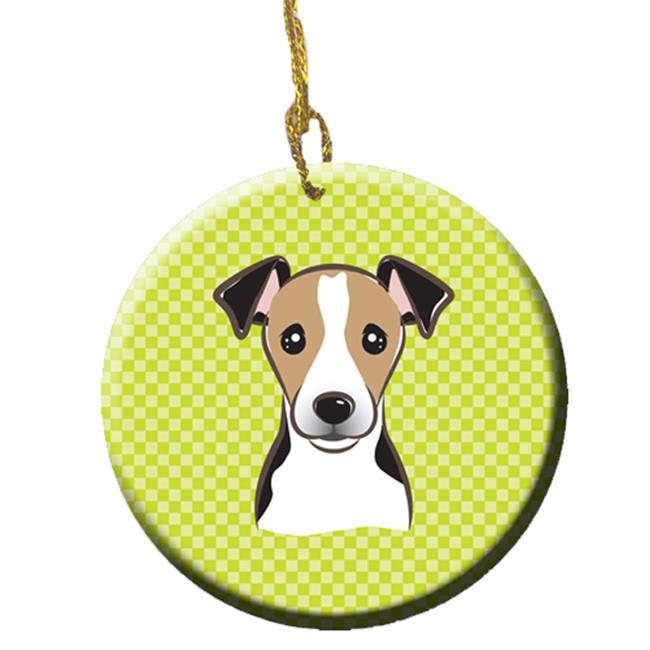 Carolines Treasures BB1323CO1 Checkerboard Lime Green Jack Russell Terrier Ceramic Ornament, 2.81 In. - image 1 de 1