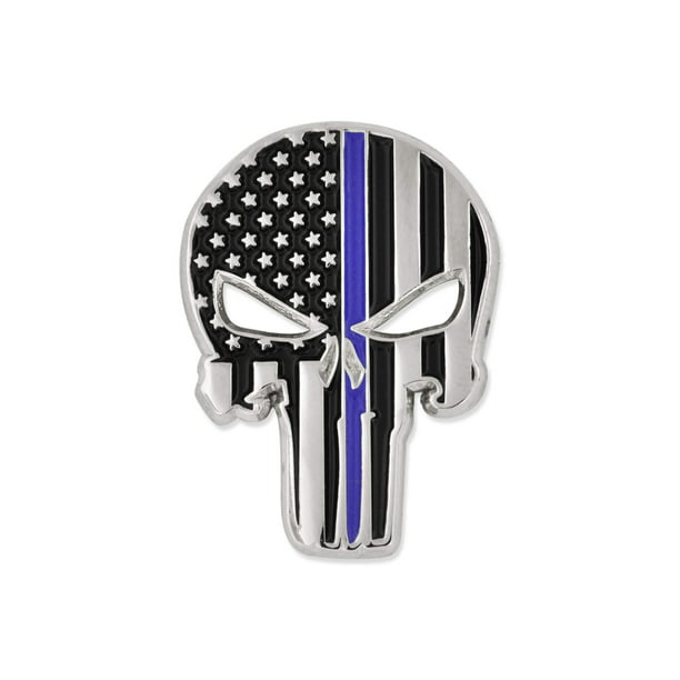 Pinmart S Thin Blue Line Punisher Skull Police Law American Flag Lapel Pin Walmart Com Walmart Com