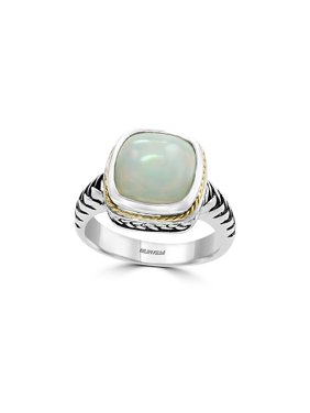 925 Sterling Silver, 18K Yellow Gold and Opal Ring