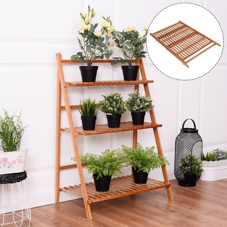 Plant Flower Stand Rack Shelf 3-Tier Bamboo Foldable Pot Racks Planter Organizer Display Shelves
