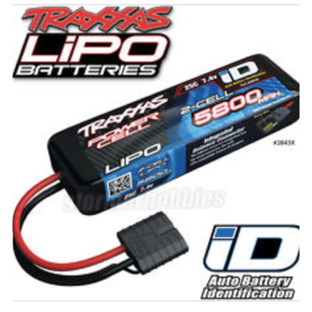 Stampede Chassis (Traxxas 2843X 2S 7.4V 5800mAh 25C LiPo Battery iD Connector :)