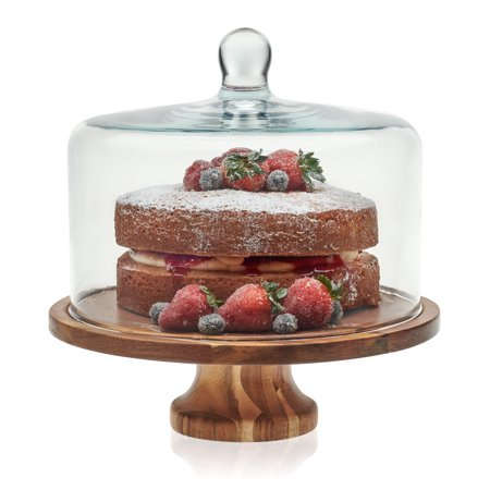 Libbey Acaciawood Footed Round Wood Server Cake Stand with Glass Dome (Glass Dome Cake Stand)