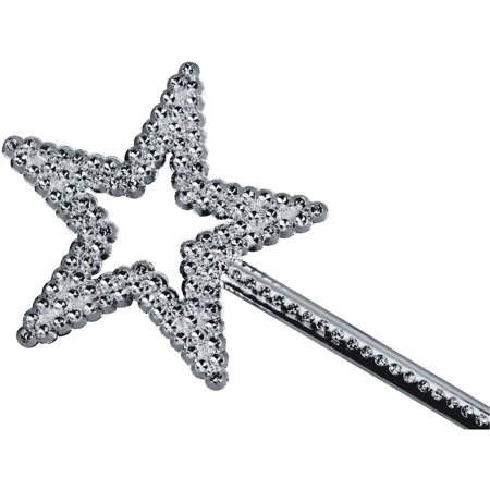 Star Power Shiny Fairytale Princess Star Shape Wand, Silver, One Size
