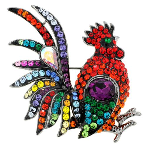 Fantasyard Silvertone Multi-colored Crystal Rooster Brooch by Overstock