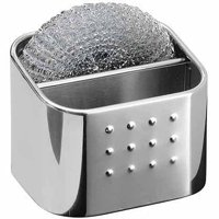 iDesign Forma Sink Organizer with Sponge and Scrubby, Polished Stainless Steel