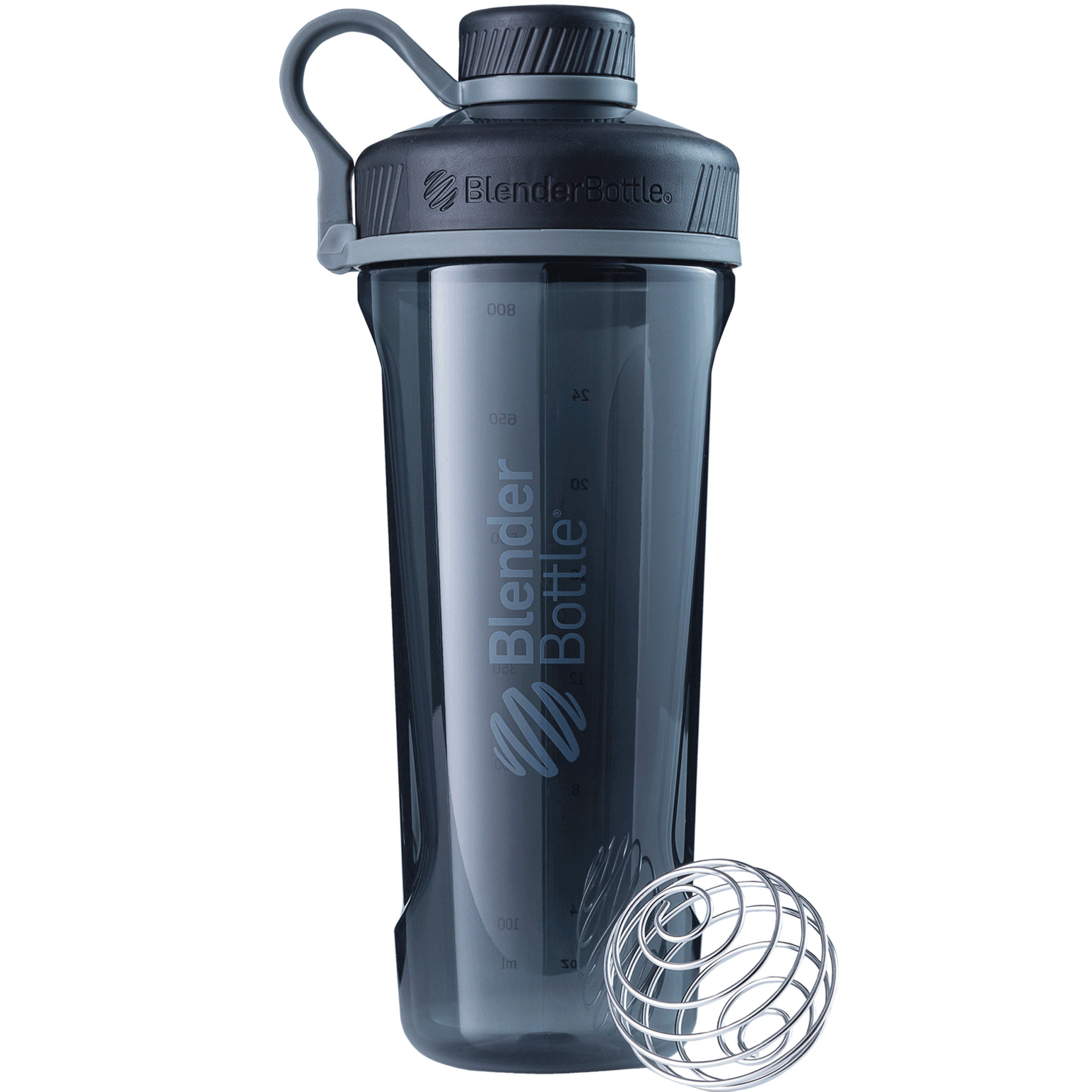 BlenderBottle 32oz Radian Tritan with Wire Whisk BlenderBall and Carrying Loop Black