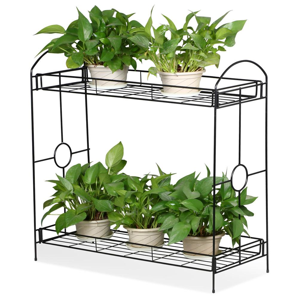 Indoor/Outdoor 2-Tier Metal Flower Stand Plant Stand Rack w/Tray Design Garden & Home Black,33.5 x 13.4 x 31.9in. (W x D x H)