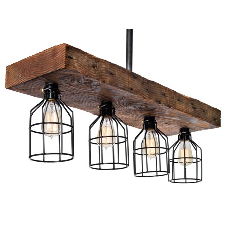 Reclaimed Wood Farmhouse Lighting Decor Rustic Chandelier - Wood From Early 1900s - Kitchen Island, Dining Room, Bar, Billiard - Four Vintage Industrial Edison Cages on Wooden Beam