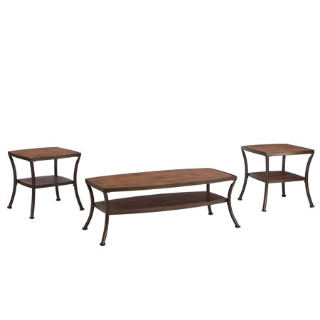 3 piece modern rectangular coffee table and 2 end tables - Three piece living room table set ...