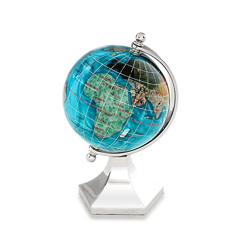 Gemstone Globe with Nautical Stand Kalifano Caribbean Blue 3-in