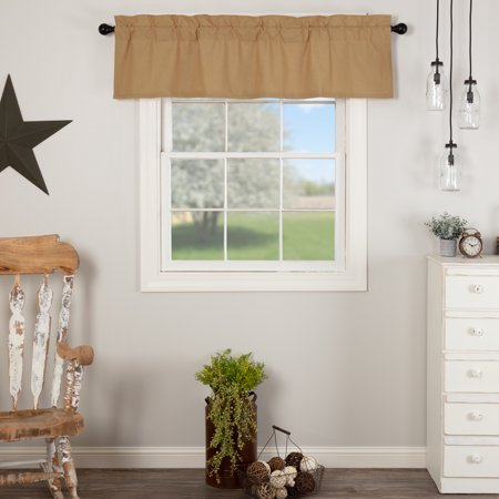 Khaki Tan Farmhouse Kitchen Curtains Simplicity Flax Rod Pocket Cotton Linen Blend Hanging Loops Flax Solid Color 16x60 Valance ()