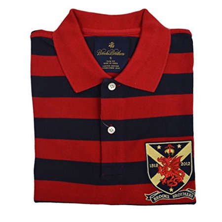 New  Brooks Brothers Men's Slim Fit Limited Edition Crest Polo Shirt Red Navy Blue Striped Small