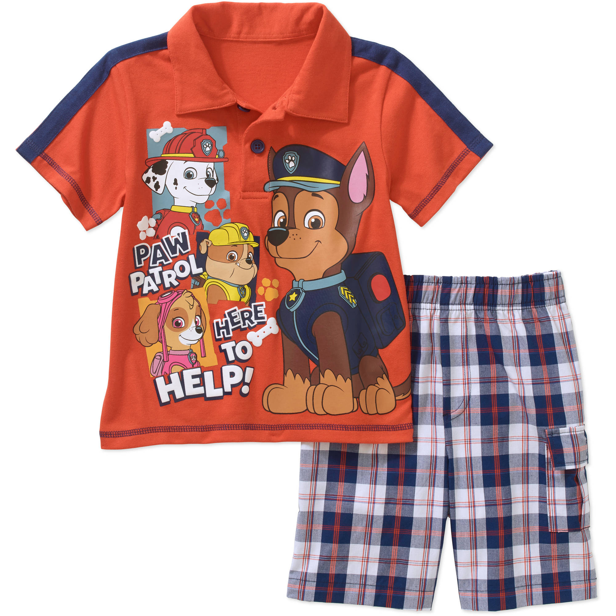 Paw Patrol Toddler Boy Graphic Polo Tee Shirt And Shorts Outfit Set