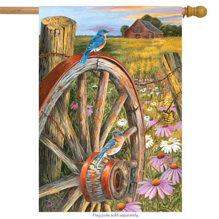 """field of dreams spring house flag wagon wheel country scene 28"""" x 40"""""""