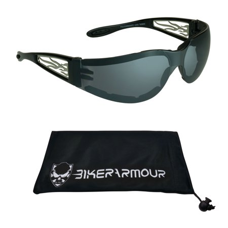 Motorcycle Riding Sunglasses with Chrome Flame Temples. Safety Polycarbonate Lens. Wind and Dust (Transition Sunglasses For Motorcycle Riding)