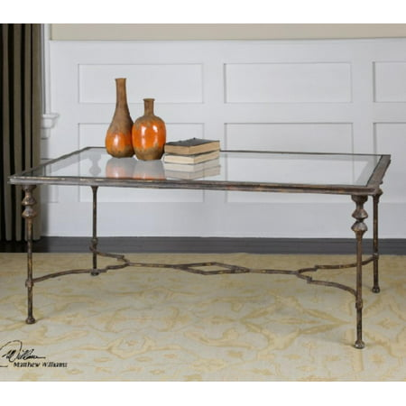 "51.25"" Gray Glazed Antique Gold with Clear Tempered Glass Rectangular Coffee Table"