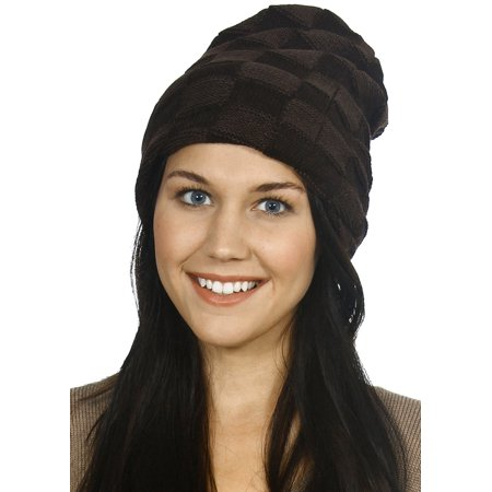 Men / Women's Winter Slouchy Bun Ponytail Ski Knit Beanie Hat, Coffee