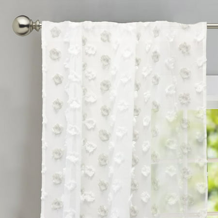 "DriftAway Olivia White Voile Sheer Window Curtains, Embroidered with Pom Pom, Set of Two Panels, Rod Pocket, each 52""x84"" (Embroidered Voile Curtains)"