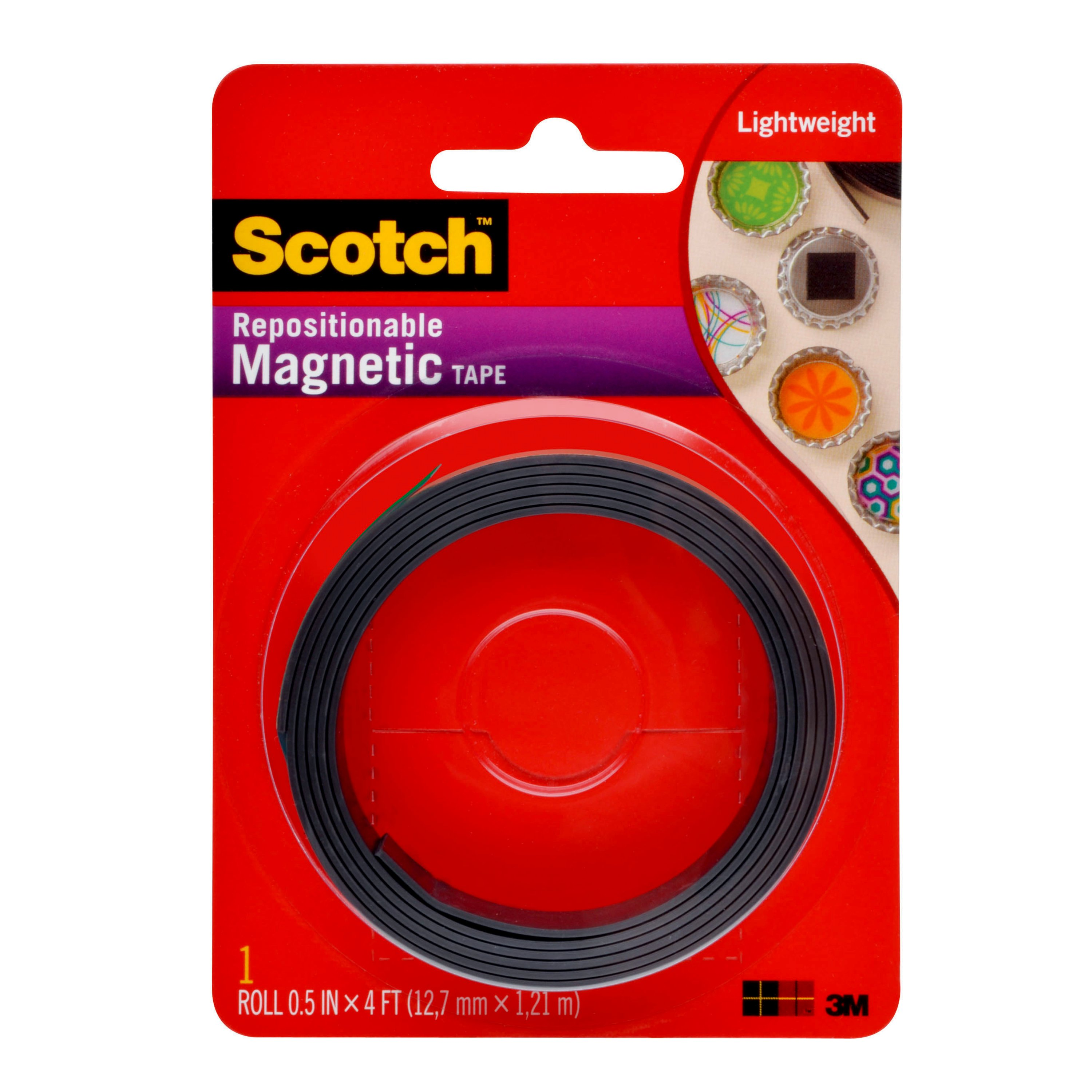 Scotch Repositionable Magnetic Tape, 1/2 in. x 4 ft., Black, 1 Roll/Pack