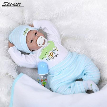 Spencer Handmade Lifelike Baby Reborn Boy Dolls 22inch 55cm Silicone Vinyl Lovely Baby Christmas gift - Joe Spencer Halloween Dolls