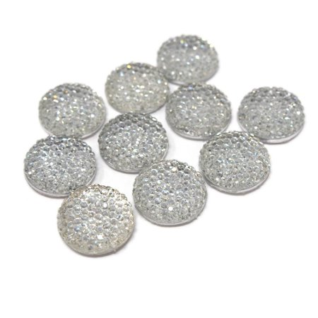 Round Self Adhesive Diamond Cluster Gems, Clear, 18mm, 10-Count