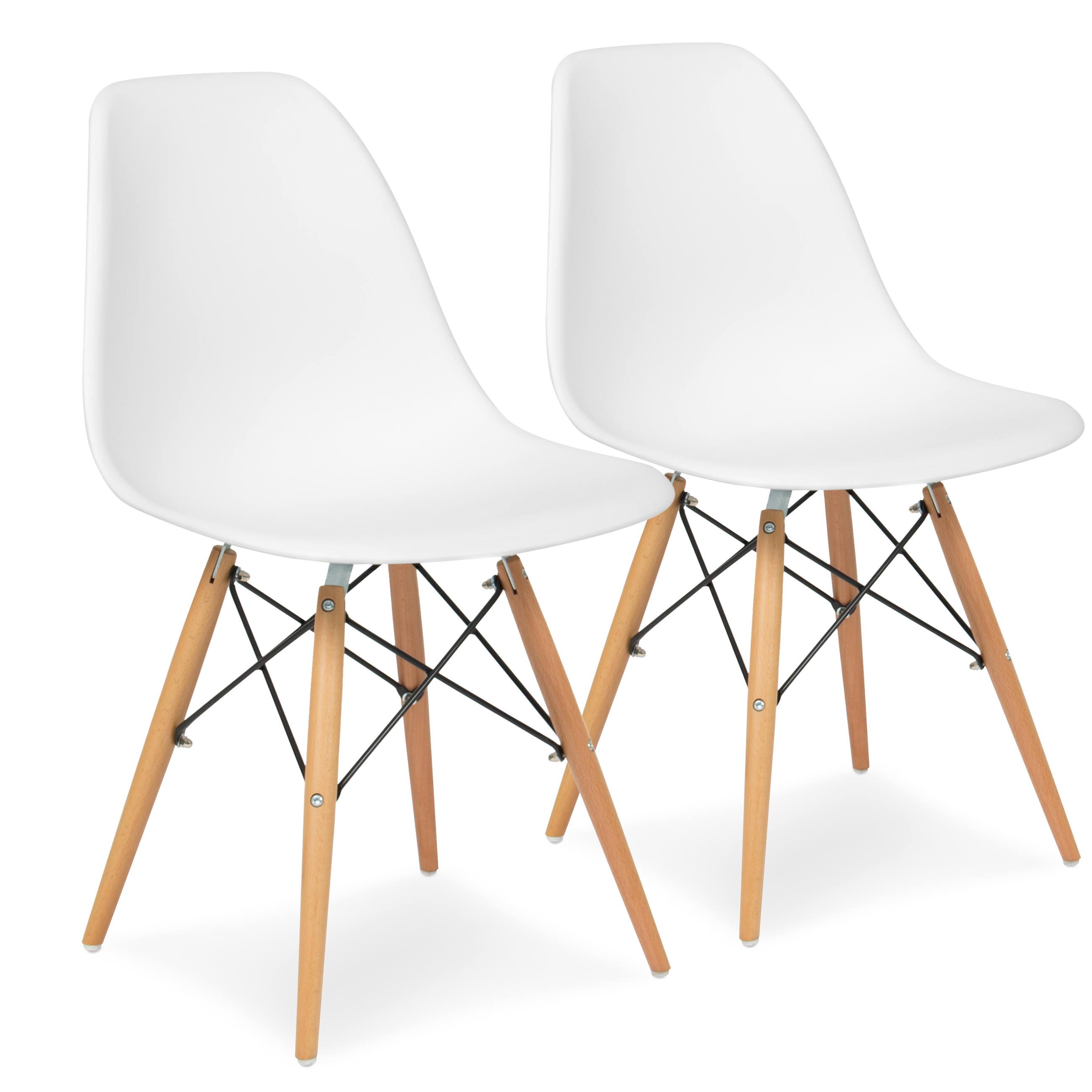 Best Choice Products Set of 2 Eames Style Dining Chair Mid Century Modern Molded Plastic Shell Arm Chair - White