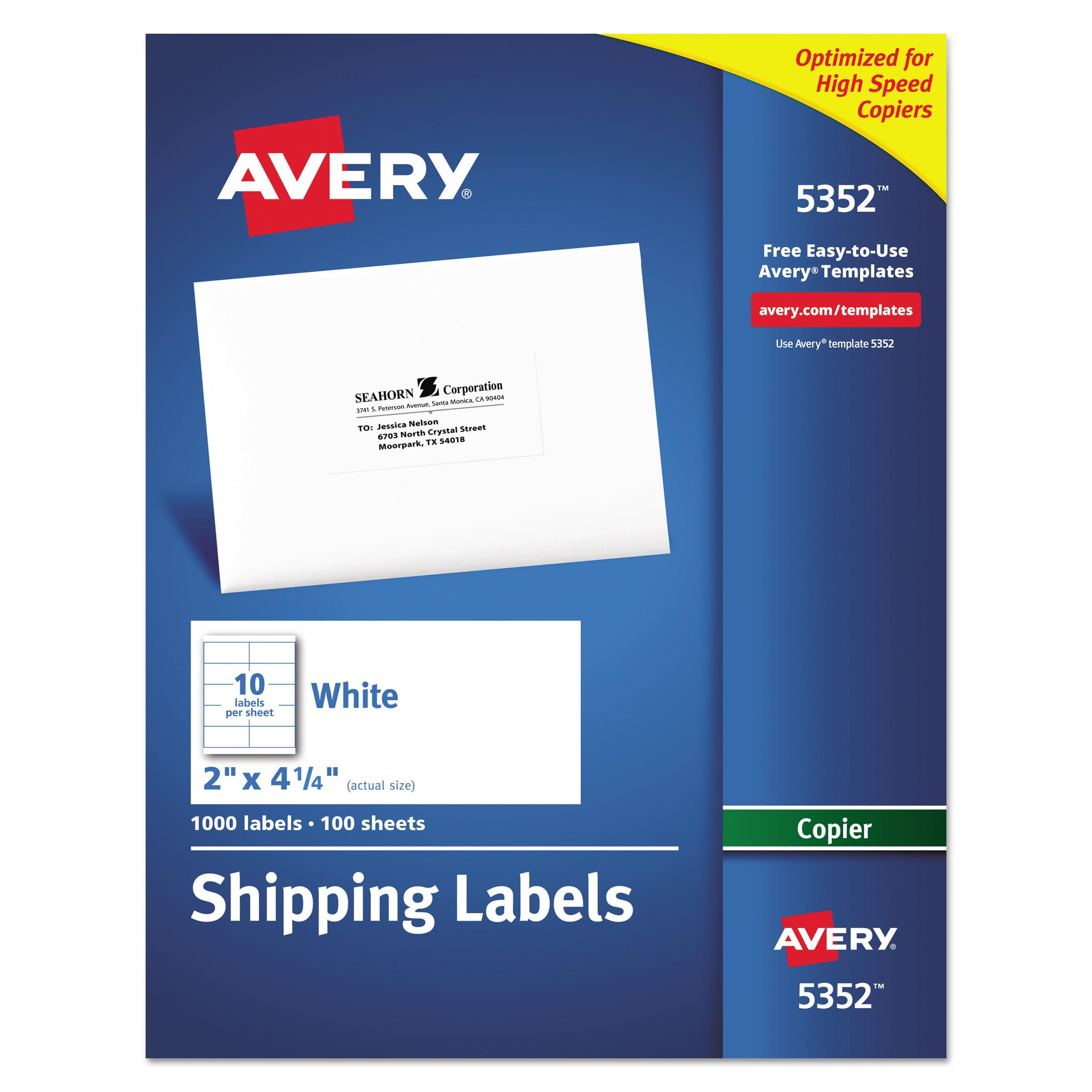 Avery Copier Shipping Labels 2 X 4 14 White 1000box Walmart