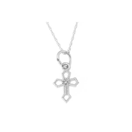 [For Babies, Kids] 14k White Gold Tiny Pointed Open Cross Pendant Necklace
