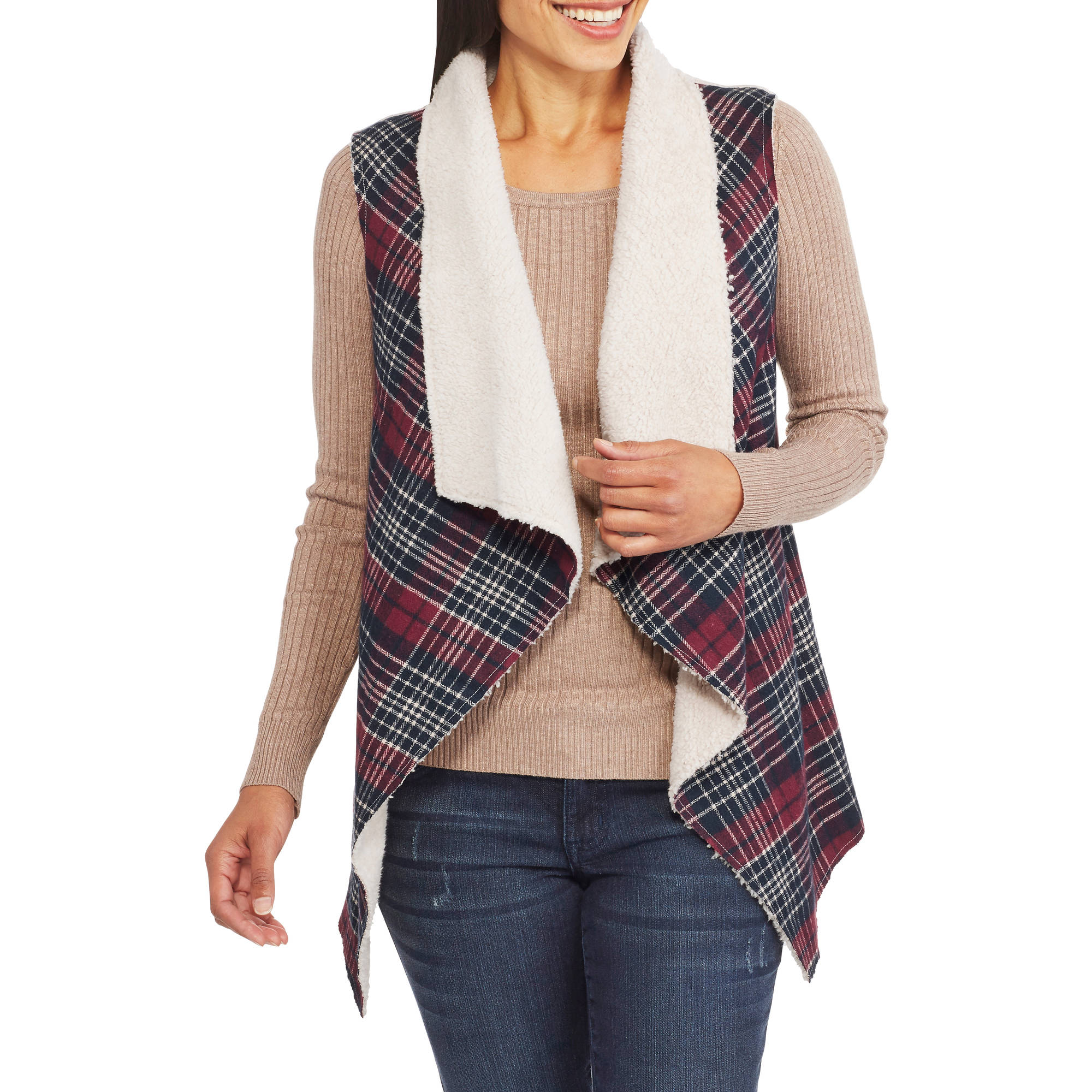 Concepts Women's Plaid Shearling Vest