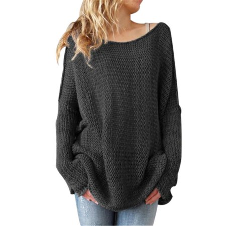 Women's Off Shoulder Casual V Neck Sheer Loose Oversized Pullover Sweater High Low Knitted Jumper , Gray