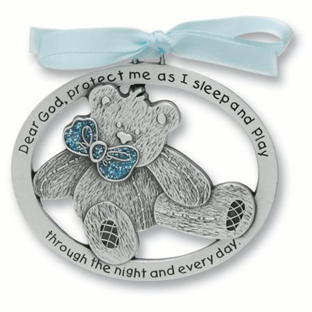 Blue Epoxy Teddy Bear Crib Medal Pendant Charm Necklace Religious Baptism/christening/communion Fashion Jewelry Gifts For Women For Her - image 5 of 5