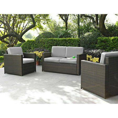 - Crosley Furniture KO70003BR-GY Palm Harbor 3-Piece Resin Wicker Outdoor Seating Set (Brown/Grey)