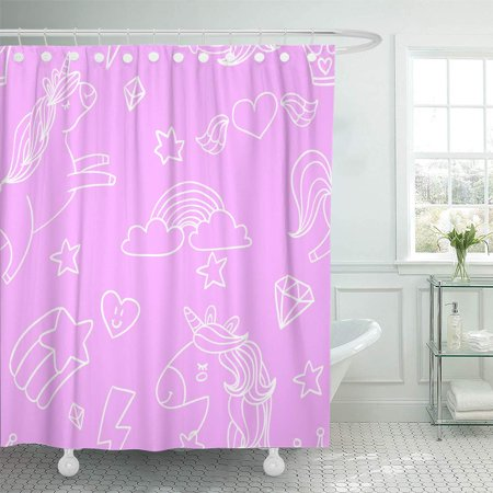 YUSDECOR Colorful Abstract Cute Sketch Doodle White Outlined on Pink Bathroom Decor Bath Shower Curtain 60x72 inch - image 1 de 1