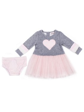 Little Lass Faux Fur Sleeve Tulle Dress (Baby Girls & Toddler Girls)