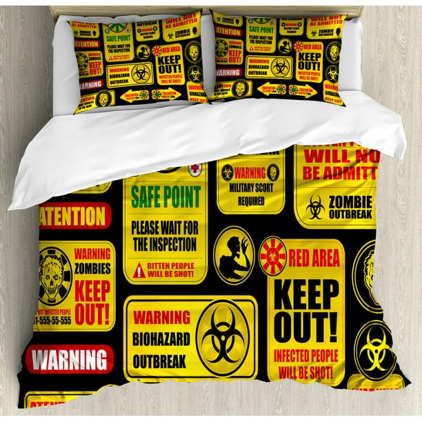 Zombie Duvet Cover Set, Apocalypse Signs Attention Danger ...