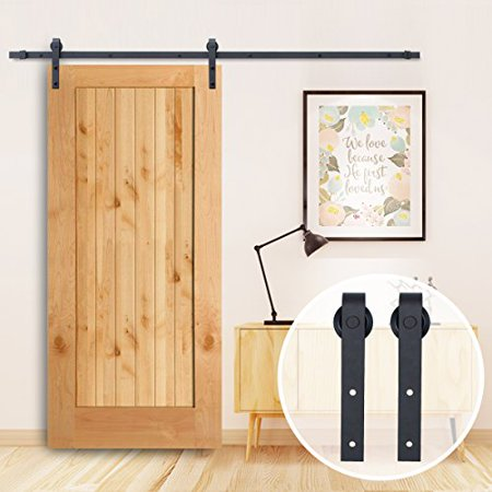 New Steel Surface 8ft Sliding Barn Door Hardware W 2 48 Rails Hangers