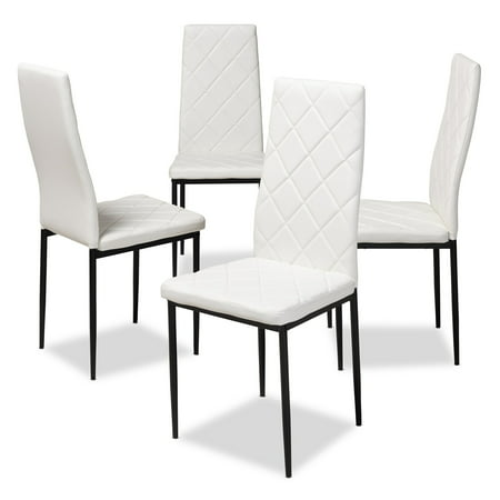 Set of 4 Baxton Studio Blaise Modern and Contemporary White Faux Leather Upholstered Dining