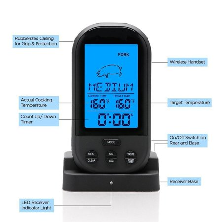 HC-TOP Smart Wireless BBQ Thermometer,Digital Display Instant Read Cooking Grill Meat Thermometer - image 8 of 11