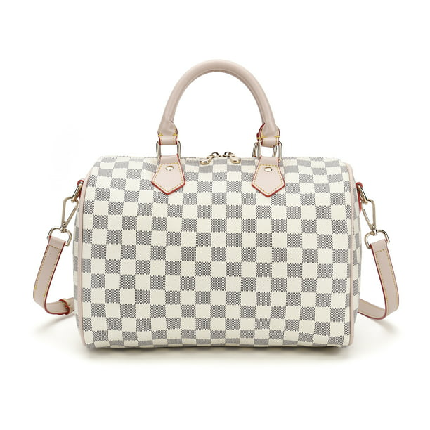 RICHPORTS Checkered Women PU Leather Tote Bag Tassels Leather Shoulder Handbags Fashion Ladies Purses Satchel Messenger Bags