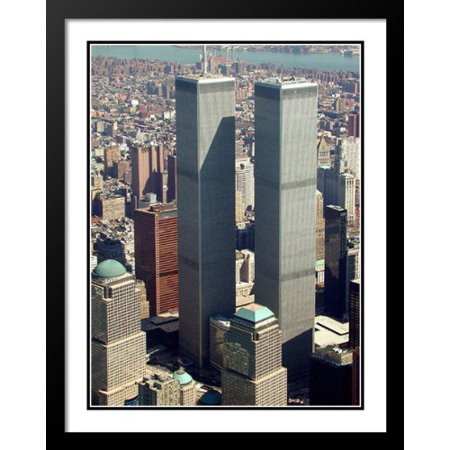 FrameToWall - New York City Twin Towers Skyline Large 20x23 Framed and Double Matted (New York Skyline Photo)