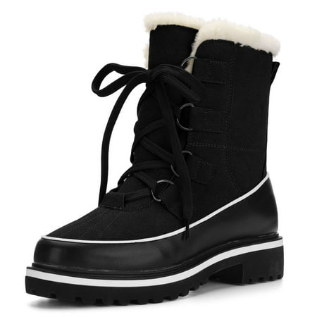Women Contrast PU Panel Fleece Lining Lace Up Snow Boots (Womans Boot Liners)