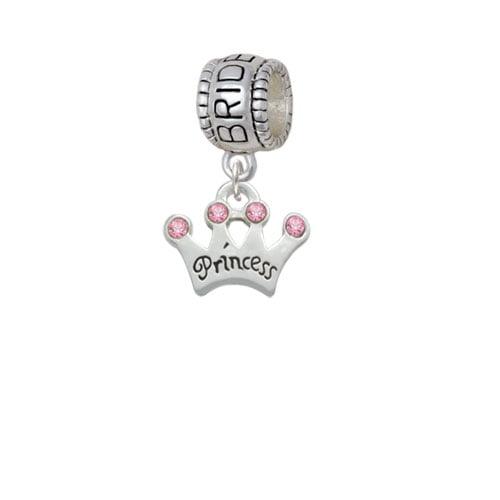 Small ''Princess'' Crown with Pink Crystals - Bridesmaid Charm Bead