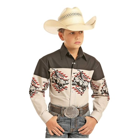 Panhandle Boy's Long Sleeve Scenic Border Snap Shirt, Black (Large) - Panhandle Slim Snap Shirt