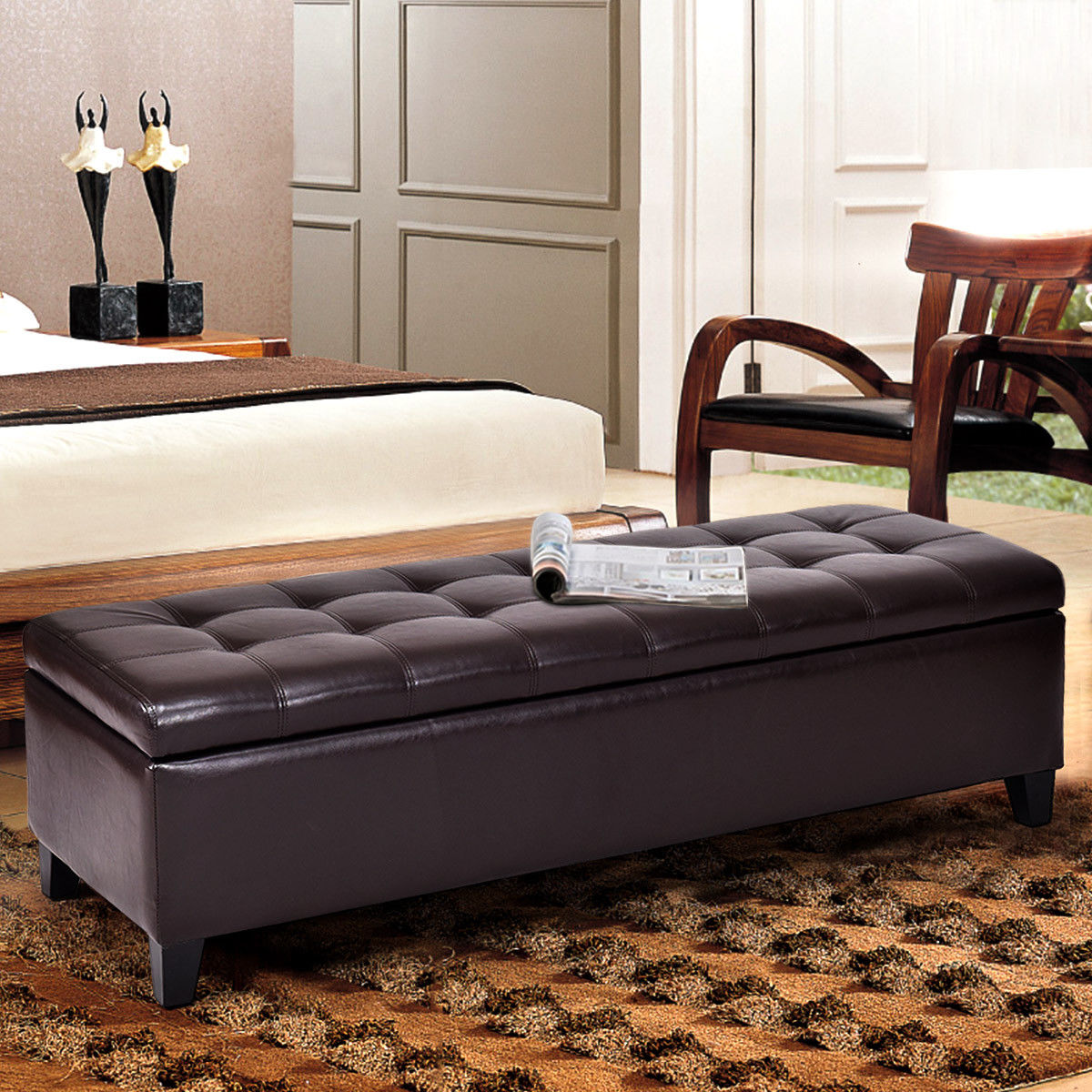 Costway 51'' Storage Ottoman Bench PU Leather Home Accents Tufted Rectangular Footstool