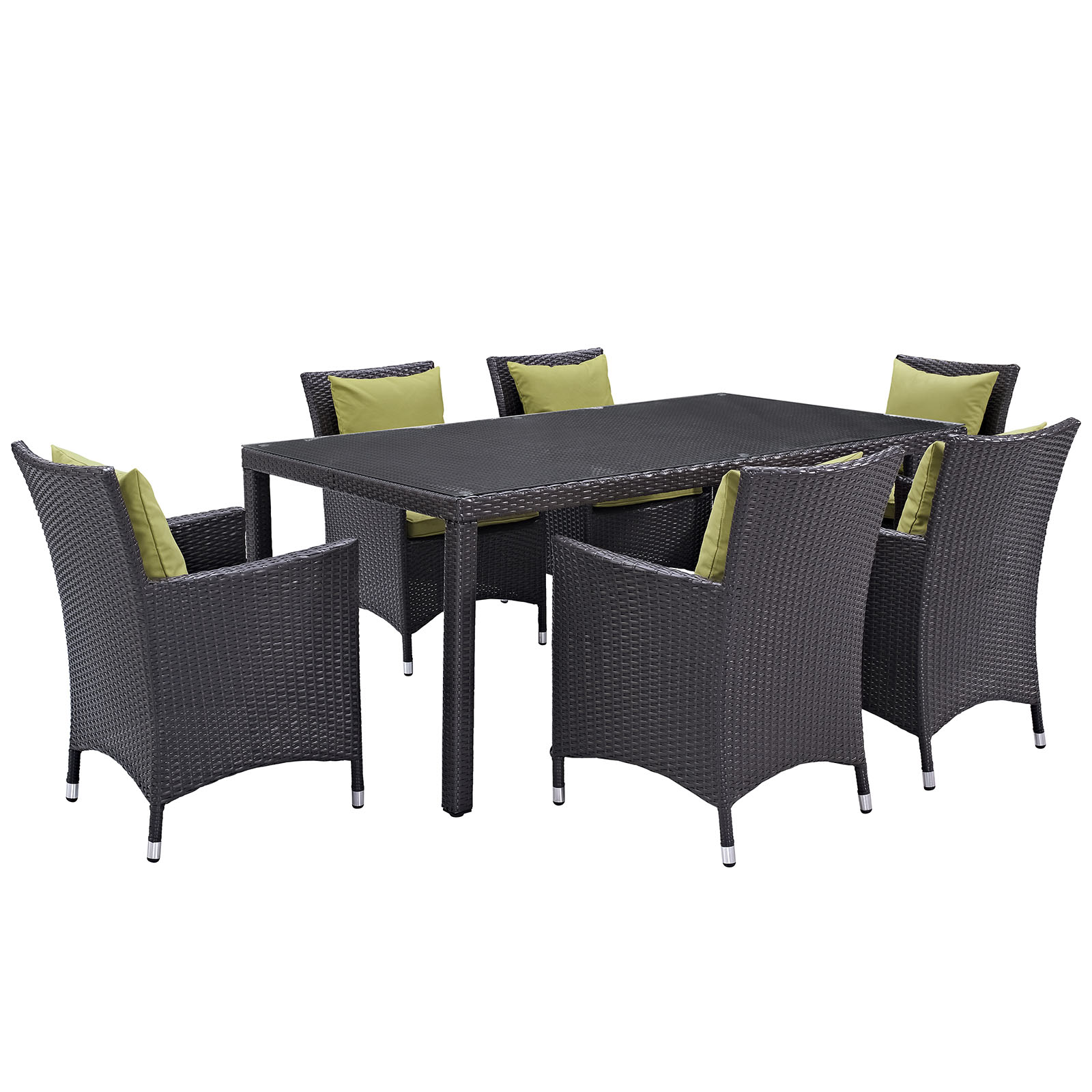 Modern Contemporary Urban Design Outdoor Patio Balcony Seven PCS Dining Chairs and Table Set, Green, Rattan