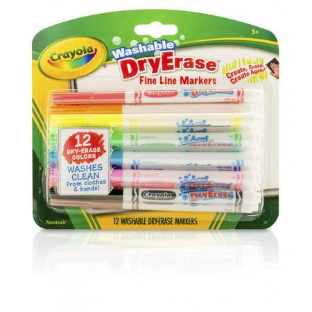 Crayola Washable Dry Erase Fineline Markers, 12 - Crayola Washable Dry Erase Markers