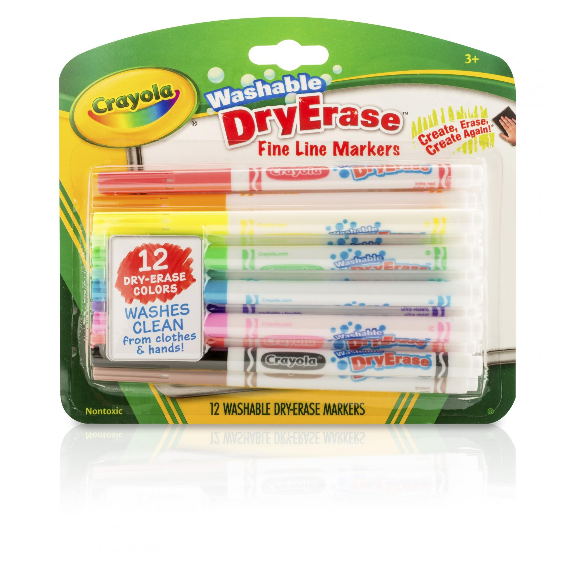 Crayola Washable Dry Erase Fineline Markers, 12 Count