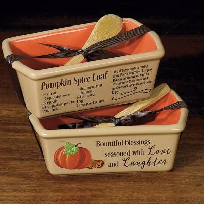 Loaf Pan-Mini-Love & Laughter/Pumpkin Spice Recipe w/Wooden Spoon