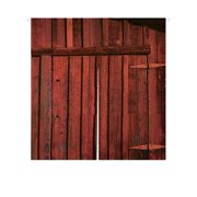 GCKG Old Red Barn Wood Door Doorway Curtain Japanese Noren Curtains Door Curtain Entrance Curtain Size 85x90cm
